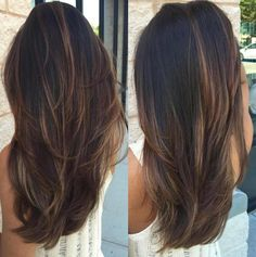 Black Hair With Chocolate Balayage