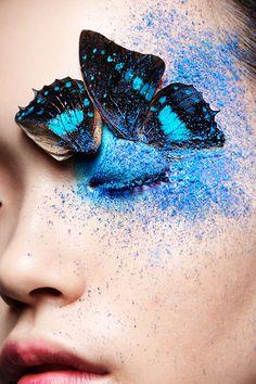 67 Ideas For Makeup Artist Photoshoot Blue Eyes Butterfly Eyes, Butterfly Kisses, Butterflies, Madame Butterfly, Pantone, Blue Eyeshadow Looks, Bleu Indigo, Rave Makeup, Make Up Art