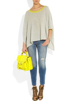 Neon-trimmed draped cashmere sweater | Duffy | THE OUTNET