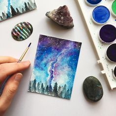 Such beautiful blues and purples in that night sky! I love galaxy and space paintings so much! Watercolor Galaxy, Galaxy Painting, Galaxy Art, Space Painting, Various Artists, Night Skies, Constellations, Watercolor Paintings, Bullet Journals