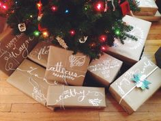 Spruce up brown paper wrapping with a white chalk pen!