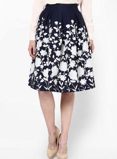 Buy Harpa Navy Blue Crepe Regular Fit Flared Skirt online 4ccf788af