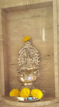 Lakshmi deepam Silver Lamp, Brass Lamp, Silver Pooja Items, Pooja Room Door Design, Puja Room, Silver Ornaments, Prayer Room, Diwali Decorations, Indian Home Decor