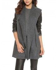 Grey Longline Coat With Contrast PU Sleeve JA0150013