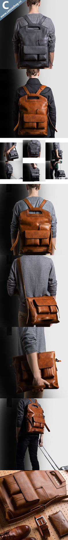 Co : Leather Convertible Backpack - Canvas Bag Leather Bag CanvasBag. Men's Backpack, Leather Backpack, Fashion Bags, Mens Fashion, Leather Portfolio, Cooler Look, Convertible Backpack, Work Bags, Leather Working