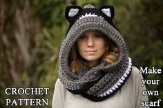 CROCHET PATTERN Cat Scarf Scoodie Hooded Scarf di WellRavelled