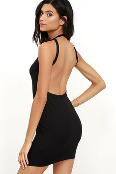 Give them something to stare at with the Flaunt What You Got Black Backless Bodycon Dress! Ribbed knit shapes this figure-flattering dress with a high, halter neckline, while minimalist straps showcase the sultry open back.