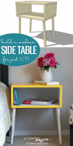 DIY Side Table Ideas That Will Instantly Transform Your Space - Home Decoration Shabby Chic Nightstand, Diy Nightstand, Bedside Tables, Furniture Projects, Furniture Makeover, Diy Furniture, Wood Projects, Furniture Removal, Plywood Furniture