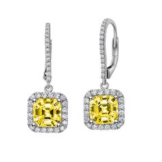 Asscher Cut Earrings with Halo by LAFONN in Platinum-Bonded Sterling Silver and Clear and Canary Simulated Diamonds, MRSP $235.  4.95CTTW