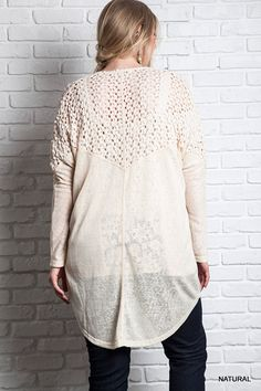 Knit Kimono Sweater - Natural - Knitted Belle Boutique  - 1
