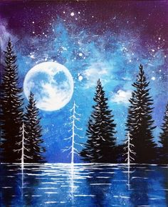 Moonrise lake - PaintNite