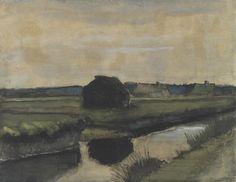 Vincent van Gogh, Landschap met turfhoop en boerderijen, 1883, Drenthe, waterverf op papier, Van Gogh Museum Amsterdam.