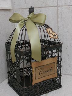 Wedding Card Box Birdcage / Rustic Romantic Birdcage Wedding Card Holder / Gift Table Cardholder.  @Lauren Davison Peterman ----for people who bring a card instead of a wrapped gift!!! i like this idea...