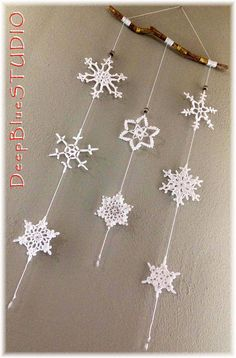 Items similar to Decoration to hang with 8 handmade crochet .- Items similar to Decoration to hang with 8 handmade crochet snowflakes on Etsy Hanging decoration with 8 handmade crochet snowflakes - Crochet Snowflake Pattern, Christmas Crochet Patterns, Crochet Christmas Ornaments, Crochet Snowflakes, Beaded Ornaments, Christmas Crafts, Christmas Decorations, Christmas Snowflakes, Snowflake Garland