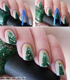 #favolose #unghie con disegno #albero di Natale #glitter  Christmas Nails  #xmas #decorations #diy #christmas #natale #idea #facile #faidate #easy #todo #decorazione #craft #kids #lavoretti #inspiration