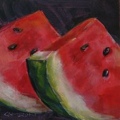 Watermelon paintings | Acrylic watermelon | Mini canvas paintings