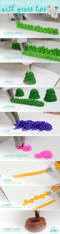 9 ways to use grass piping tips. (cake frosting tips desserts) Frosting Techniques, Frosting Tips, Frosting Recipes, Canned Frosting, Wilton Tip Chart, Wilton Tips, Decoration Patisserie, Dessert Decoration, Cake Decorations