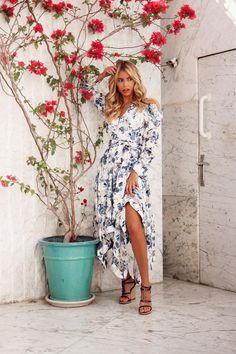 Get the look! Blue Orchids, Victorian Fashion, Get The Look, A Line Skirts, Blue Dresses, Designer Dresses, Wrap Dress, Floral Prints, Glamour
