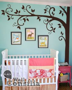 Creative and cute fall tree wall decoration with simple yet stunning curvy branches. Indulge your little one's imagination with this stunning vinyl wall decal set perfect for any nursery or bedroom. We think it's a great choice for gender neutral nursery! This tree mural sticker features dreamy scene –what could a little kid love more? In Stock at www.wallconsilia.com