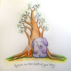 Buddha Doodles - Return to the root of your being.  Art:Molly Hahn ♥