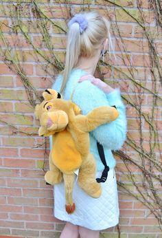 1fbb2092145 RARE Vintage Retro Disney Lion King Simba Plush 90s 80s Club Kid Animal  Backpack Rucksack Bag