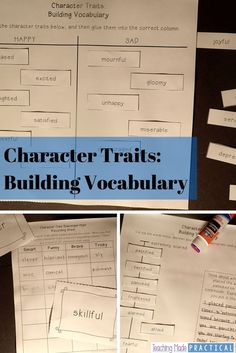 """Help students get past using """"nice"""" and """"mean"""" when describing characters and their traits. Build character trait vocabulary with hands on, low prep activities! $"""
