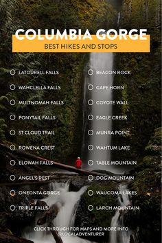 Check List of Columbia River Gorge Hikes + Best Stops on Your Oregon Road Trip // Local Adventurer Oregon Vacation, Oregon Road Trip, Oregon Trail, Oregon Coast, Oregon Hiking, Columbia River Gorge, Oneonta Gorge, Oregon Waterfalls