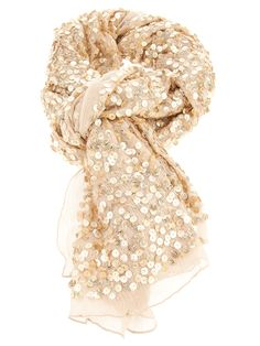 Beige silk scarf from Rose and Rose featuring an all over gold tone sequin embellishment and sheer hem.