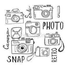 Kézzel rajzolt betűkkel retro kamerák beállítása — Stock Illusztráció #85590446
