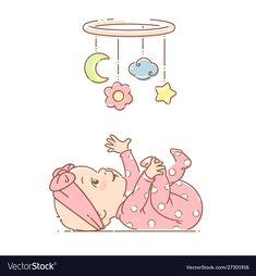 toy background Little bagirl play with hanging mobile toy Vector Image Cute Cartoon Girl, Baby Cartoon, Cartoon Kids, Family Illustration, Cute Illustration, Little Baby Girl, Little Babies, Baby Journal, Baby Shower Photos
