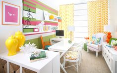 Bravado Design office | gorgeous with Lilly Pulitzer and Kravet | white furniture with colour and pattern | fun and inspiring!