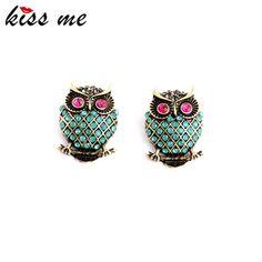 2015 New Design Vintage Personality Imitation Gemstone Owl Women Stud Earrings Fashion Jewelry