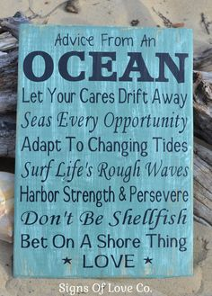 Rustic Wedding Ideas - Advice From The Ocean - Ocean Advice Sign - Beach Summer Sign - Original Beach Wedding Decor - Advice From The Ocean Quotes - Beach Cottage Art - Teal, Sage, Mint Green