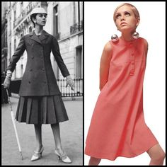 Fashion History - Suit from the A-Line collection by Dior in 1955 and Twiggy wearing a sixties A-Line dress!