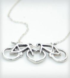 Love on Two Wheels Necklace - Silver by Green Goat Designs  on Scoutmob Shoppe