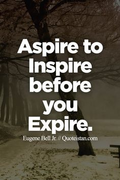 Aspire to inspire before you expire.