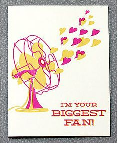 I'm your biggest fan. Letterpress card by Hello Lucky. Valentine Day Crafts, Love Valentines, Cute Cards, Diy Cards, Funny Cards, Friendship Cards, Homemade Cards, Letterpress, Making Ideas