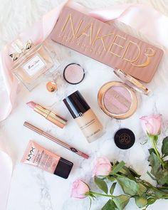 Urban Decay Naked 3 Palette, Armani Luminous Silk Foundation, Charlotte Tilbury, Miss Dior makeup flatlay #diormakeup