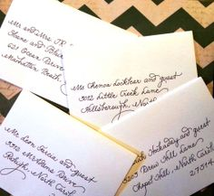 """Sweet little envelopes for a beautiful wedding invitation from Minted - in my """"fancy script"""" writing style. I did a modified lower case """"d"""" to match the invitation font."""