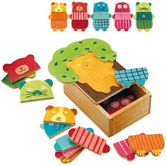 Arbra doudou cuddly tree puzzle box from Djeco includes 15 colourful wooden pieces to make 5 cute animals. Craft Activities For Kids, Crafts For Kids, Toy Trees, Birthday Party Venues, Animal Puzzle, Puzzle Toys, Wooden Puzzles, Matching Games, Wood Toys