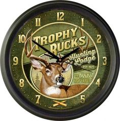 "Trophy Buck's Hunting Lodge 16"""" Wall Clock"
