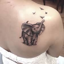 Image result for elephant and bird tattoo  2-3 elephants for kids , birds representing myself, husband, my mom my dad and my brother