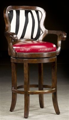 Zebra hide bar stool. Bernadette Livingston Furniture has made it easy for anyone to decorate their home with professionally designed unique furniture of the highest quality. All at a great value.
