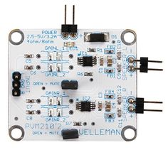 Velleman MM210: Class D Audio Amplifier - Stereo 2.8 W Small but powerful amplifier for a wide range of applications, for example MP3 player, melody generator, intercom, sound effects, headphones, radio receiver, PC sound card, music instrument