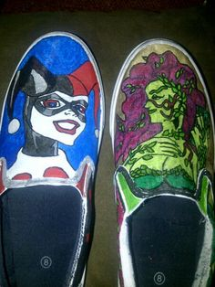 Harley Quinn/Poison Ivy hand painted shoes. $40.00, via Etsy.