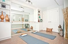at home yoga space workout rooms * workout yoga room & workout yoga room ideas & yoga workout room at home & yoga and workout room & yoga/workout room & home yoga workout room & living room yoga workout & at home yoga space workout rooms Home Yoga Room, Yoga Studio Home, Workout Room Home, Gym Room At Home, Home Gym Decor, Workout Rooms, Pilates Studio, Home Ballet Studio, Home Gyms