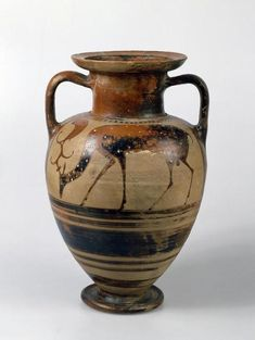 Black-figured Amphora: A Deer Place: Ancient Greece, Eastern Greece, Klazomenai Date: Circa BC Material: clay The State Hermitage Museum Ancient Egyptian Art, Ancient Aliens, Ancient Greece, Ancient History, Historical Artifacts, Ancient Artifacts, Greek Pottery, Pottery Art, Roman Art