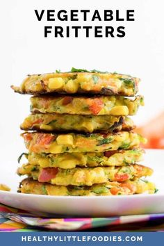 These Vegetable Fritters are a great finger food for babies, toddlers and big kids. Loved by adults and kids alike, they are an easy and fun way to add more vegetables to a meal. Enjoy as a savoury breakfast, pack into a school lunch or include them as part of a family dinner. Gluten-free #fritters Vegetable Recipes For Kids, Vegetarian Meals For Kids, Finger Foods For Kids, Baby Finger Foods, Toddler Meals, Kids Meals, Toddler Recipes, Baby Food Recipes, Vegan Recipes