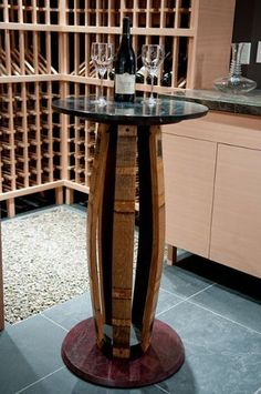 Koletic Designs Custom Fine Furniture - A beautiful addition to an amazing wine cellar this reclaimed oak wine barrel tasting table is topped with polished granite and is framed with iron giving it a rustic appeal. Whiskey Barrel Furniture, Wine Barrel Furniture, Rustic Furniture, Handmade Furniture, Furniture Design, Table Baril, Barrel Bar, Bourbon Barrel, Wine Barrel Table