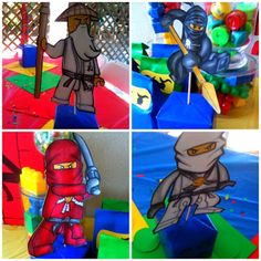 Download these files for FREE to make your own Ninjago Birthday Party Centerpieces! Links found  HERE